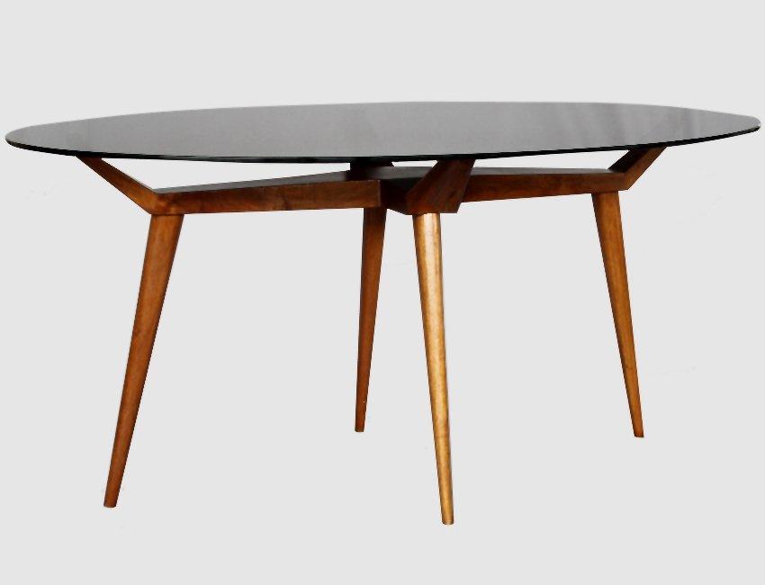 Tavolo ovale Mid-Century in cristallo e legno di G.L Giordani ...