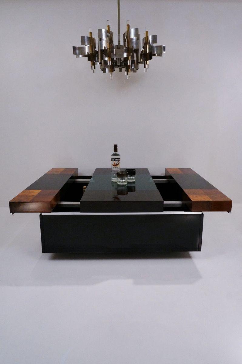 italienischer bartisch aus wurzelholz glas chrom 1970er bei pamono kaufen. Black Bedroom Furniture Sets. Home Design Ideas