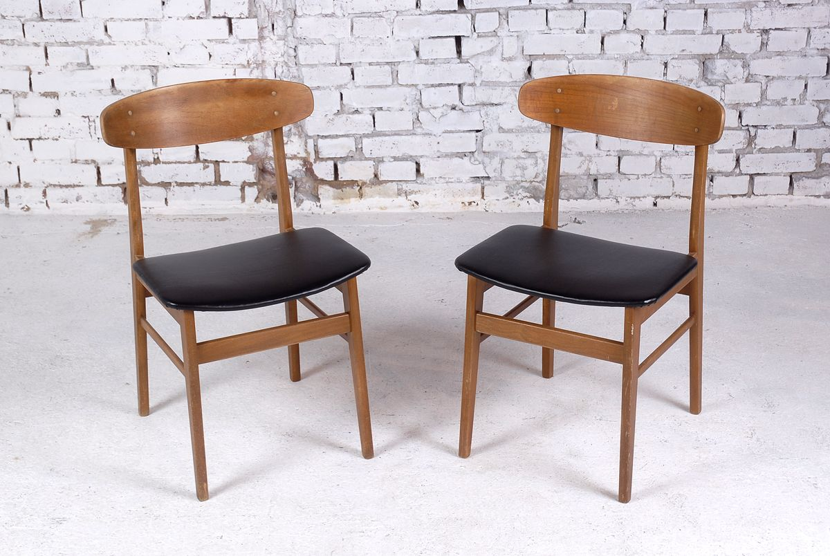 danish teak side chairs with leather upholstery 1960s set of 2 for