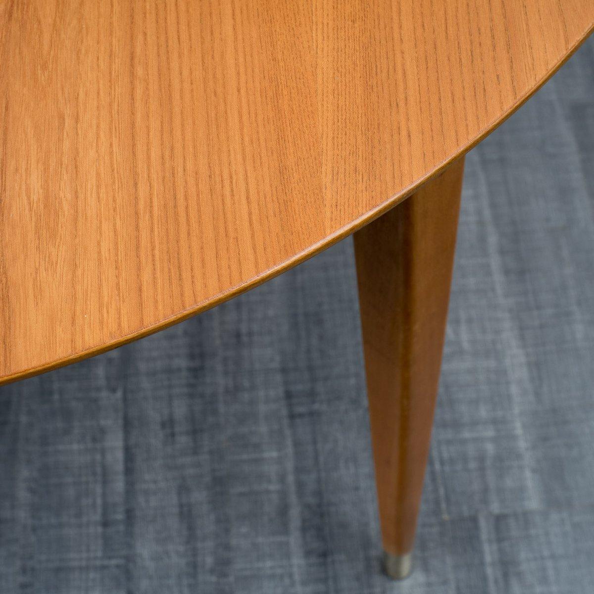 runder ausziehbarer esche esszimmertisch von hainke 1950er bei pamono kaufen. Black Bedroom Furniture Sets. Home Design Ideas