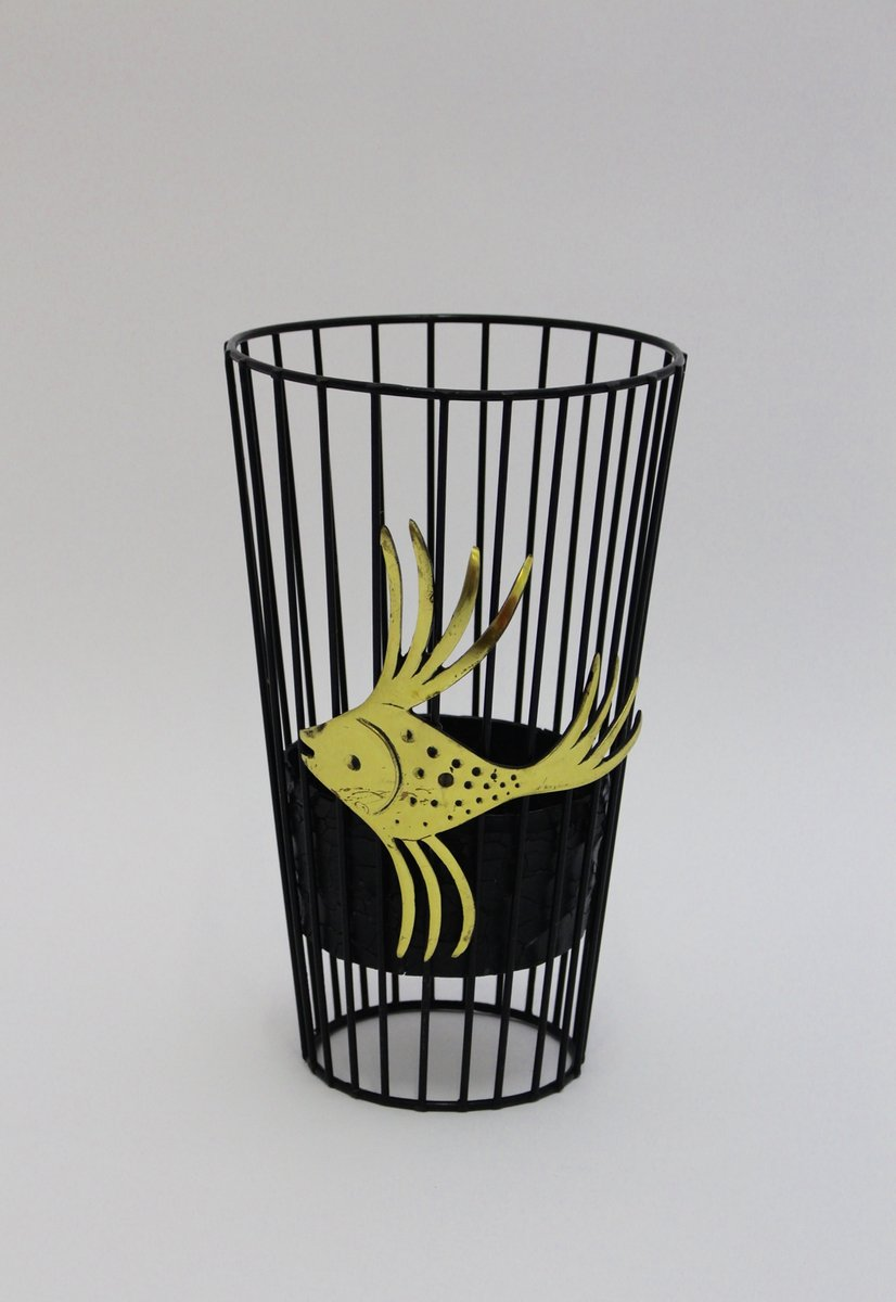 Steel Wire For Umbrella : Black wire steel umbrella stand by walter bosse for sale
