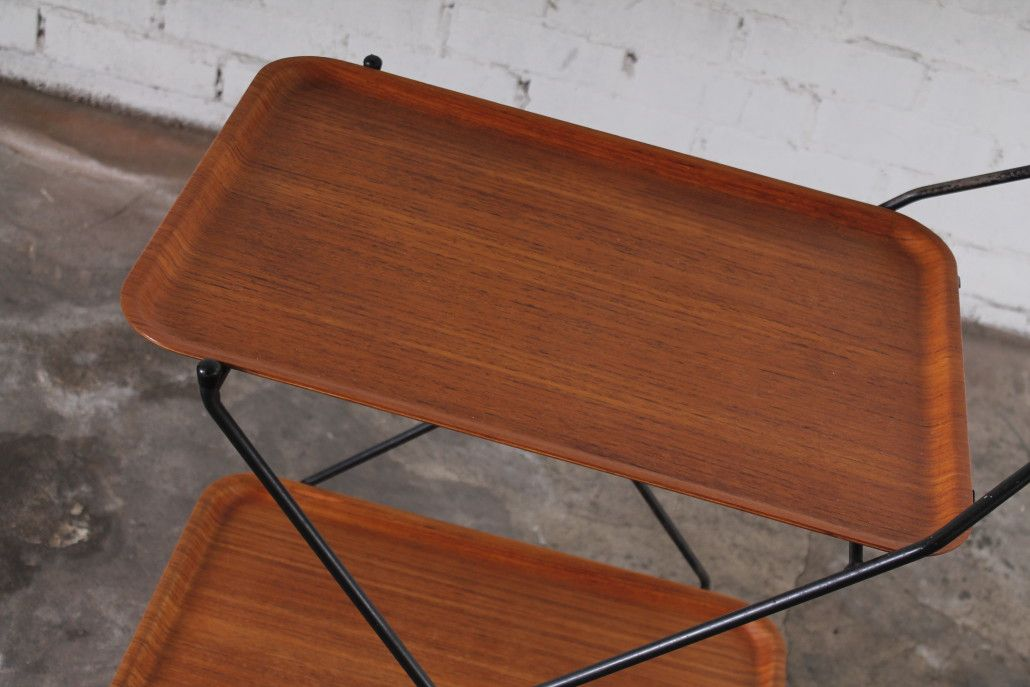 Vintage Foldable Teak and Metal Serving Trolley for sale ...