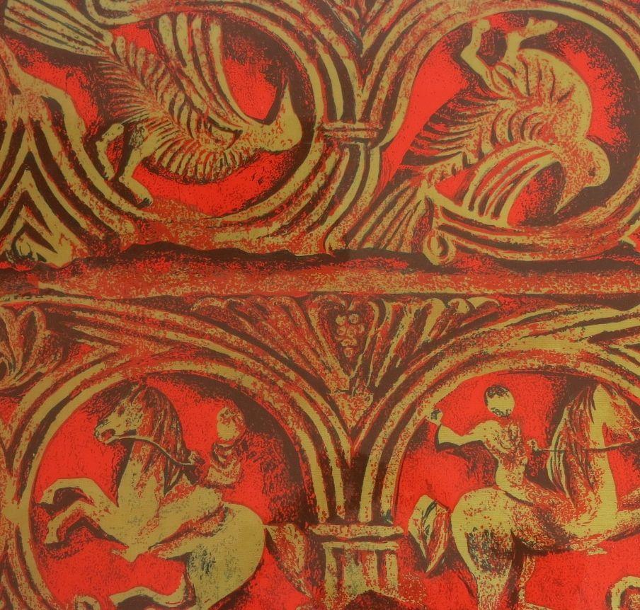 Italienischer couchtisch aus lackiertem leinen in rot for Couchtisch rot