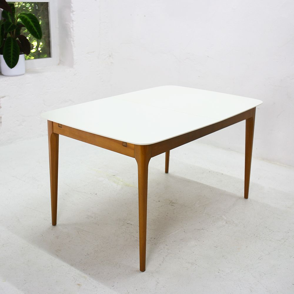 Cherry and cream painted top extendable table 1950s for for 10 table cream