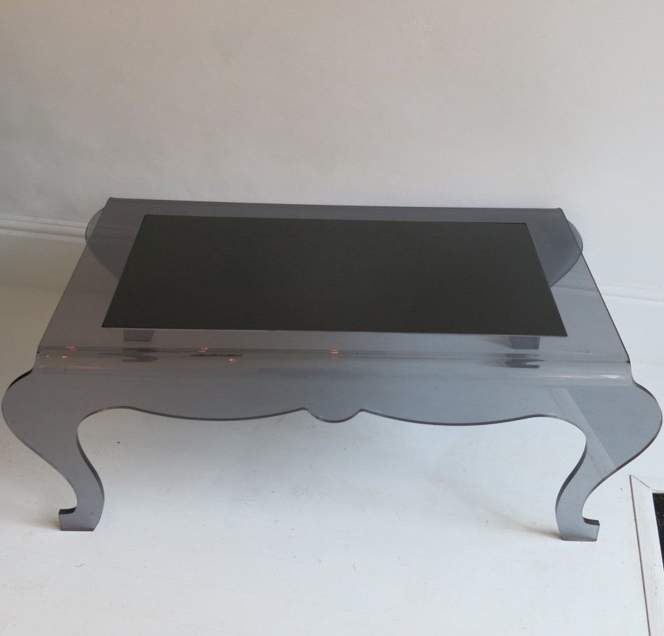 French Rectangular Smoked Perspex Coffee Table For Sale At Pamono