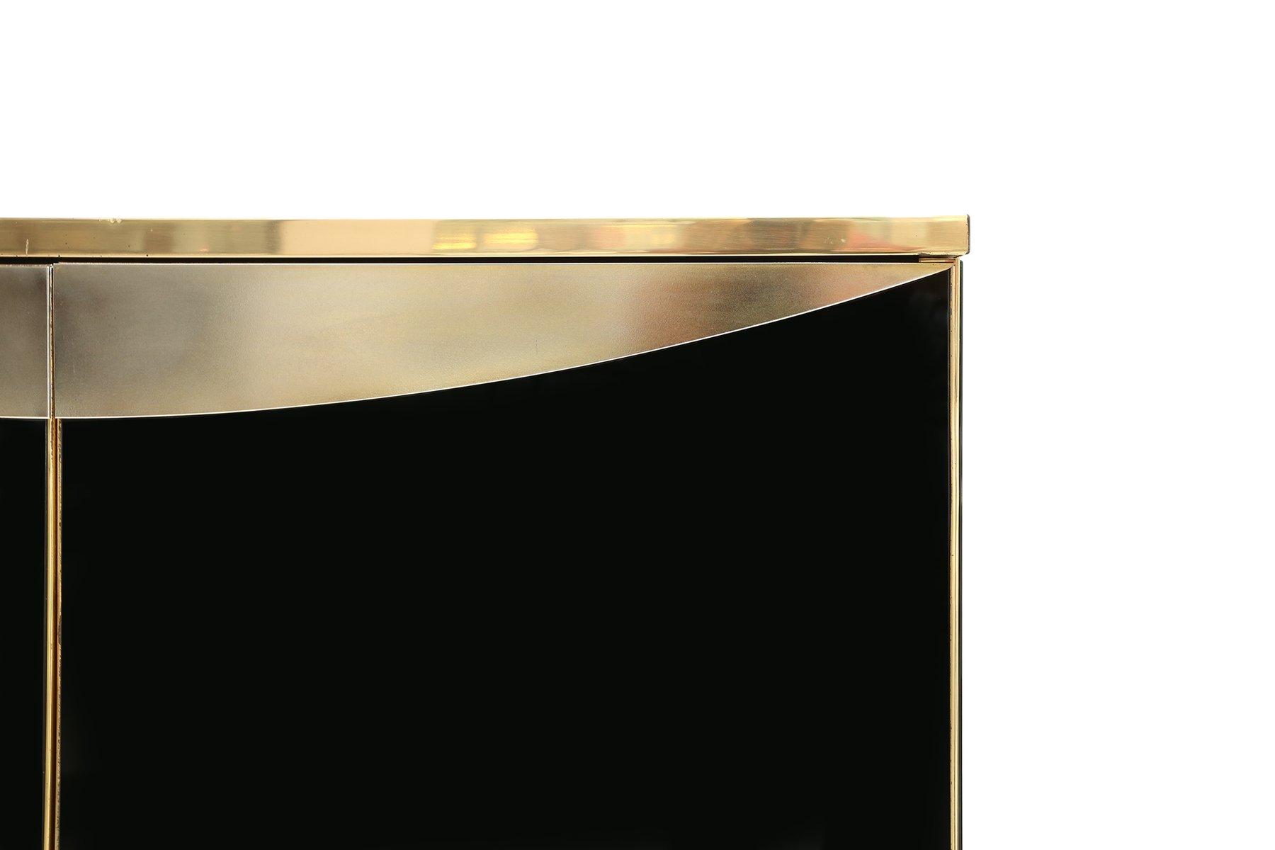 meuble bar en verre noir en laiton de maison jansen. Black Bedroom Furniture Sets. Home Design Ideas