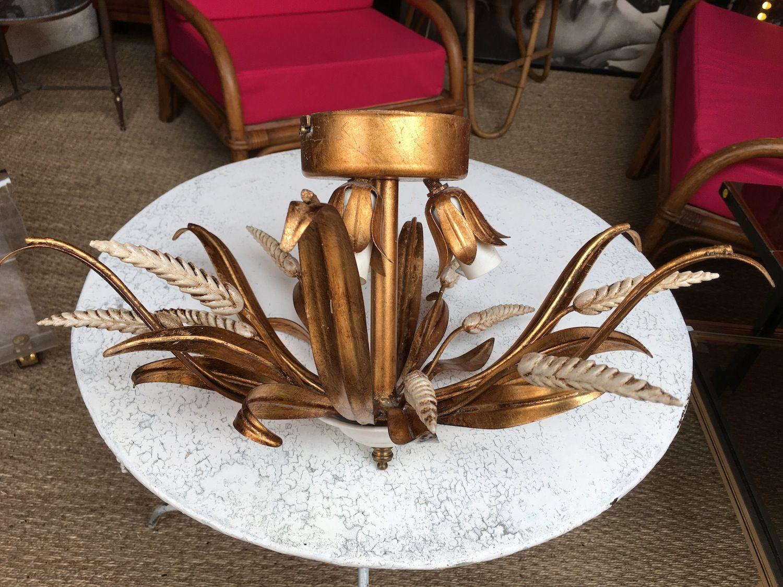 italienischer schmiedeeisen kronleuchter in weizen optik von masca 1960er bei pamono kaufen. Black Bedroom Furniture Sets. Home Design Ideas