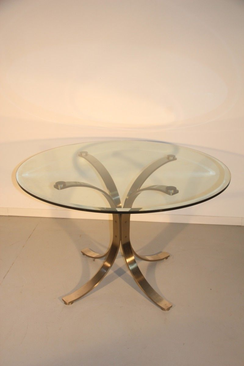 Italian Glass Dining Table Italian Steel And Glass Dining Table 1970s For Sale At Pamono