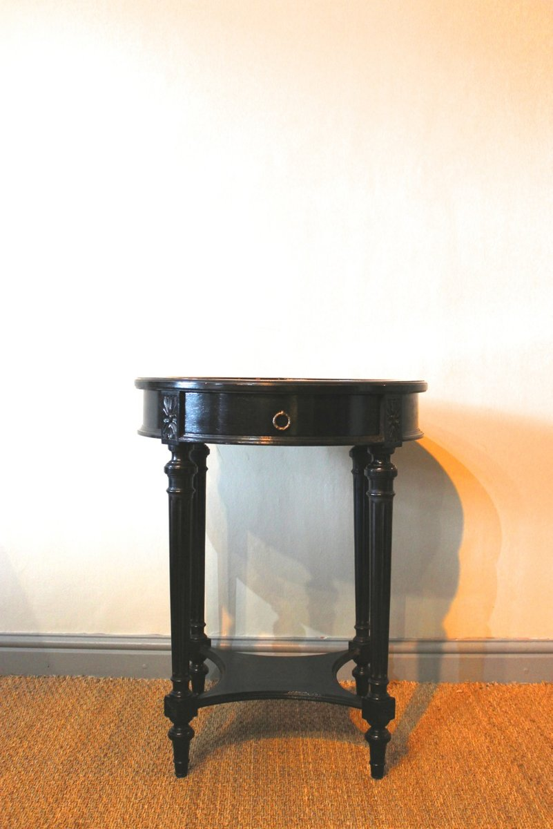 antique ebonized gueridon with marble top for sale at pamono. Black Bedroom Furniture Sets. Home Design Ideas