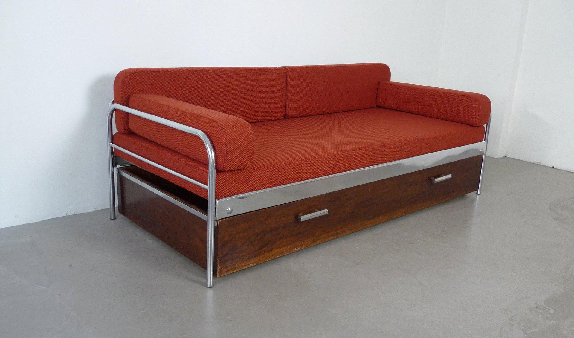 Czechoslovak Bauhaus Steel Tube Sofa Bed From Mcke