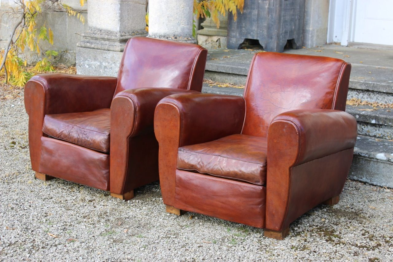 Mid Century French Leather Club Chairs Set Of 2 For Sale At Pamono