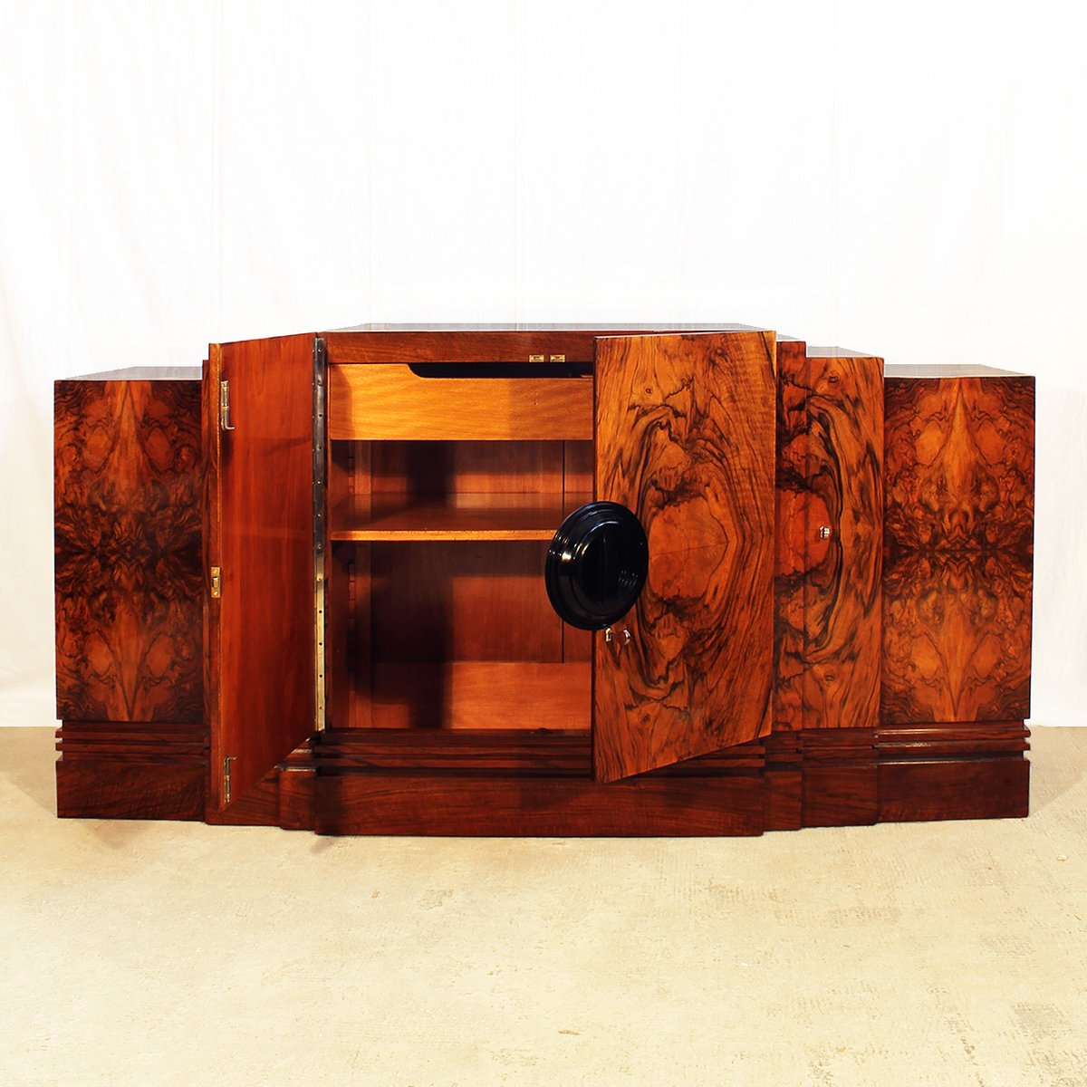 french art deco walnut sideboard 1930s for sale at pamono. Black Bedroom Furniture Sets. Home Design Ideas