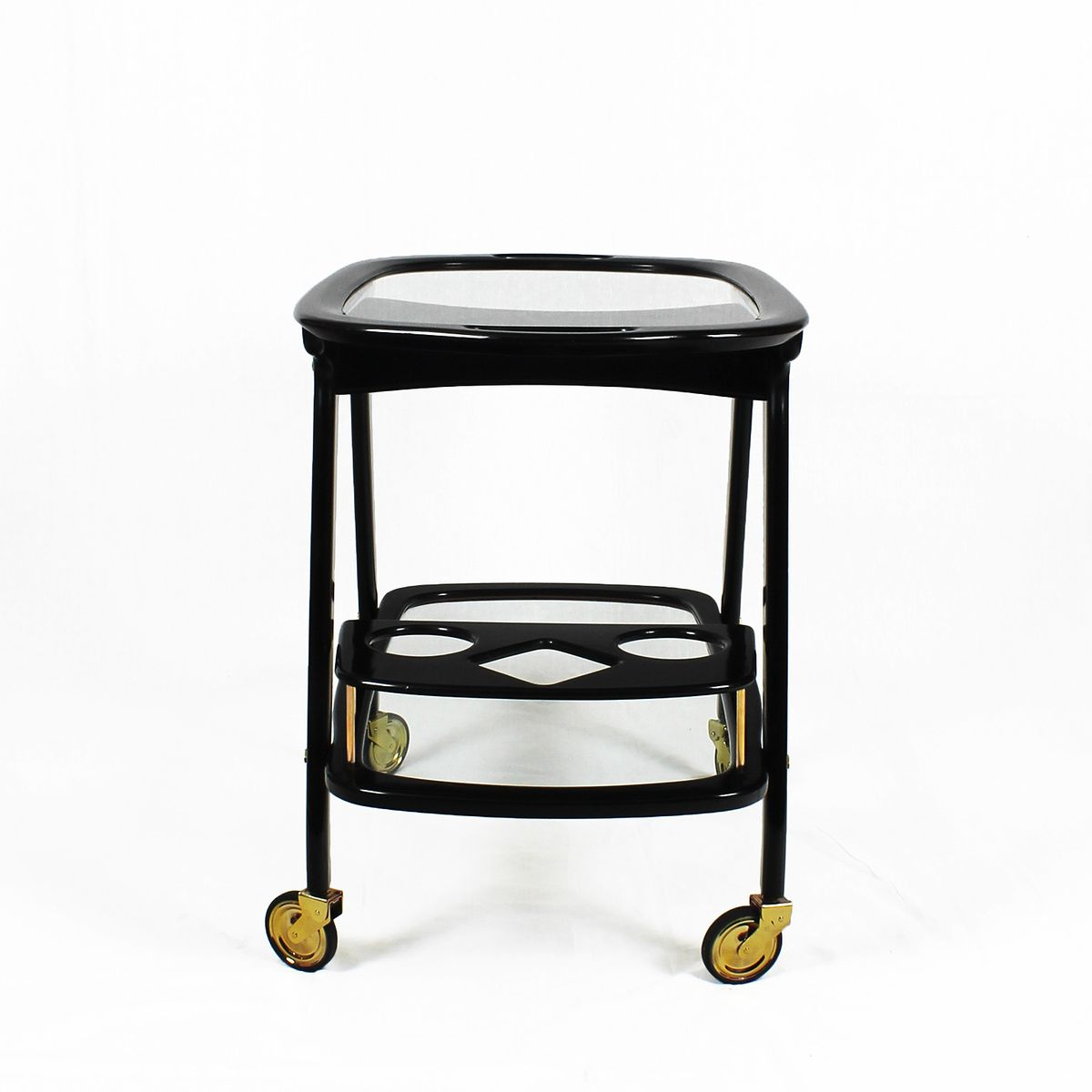 italian mid century mahogany bar cart by cesare lacca for. Black Bedroom Furniture Sets. Home Design Ideas