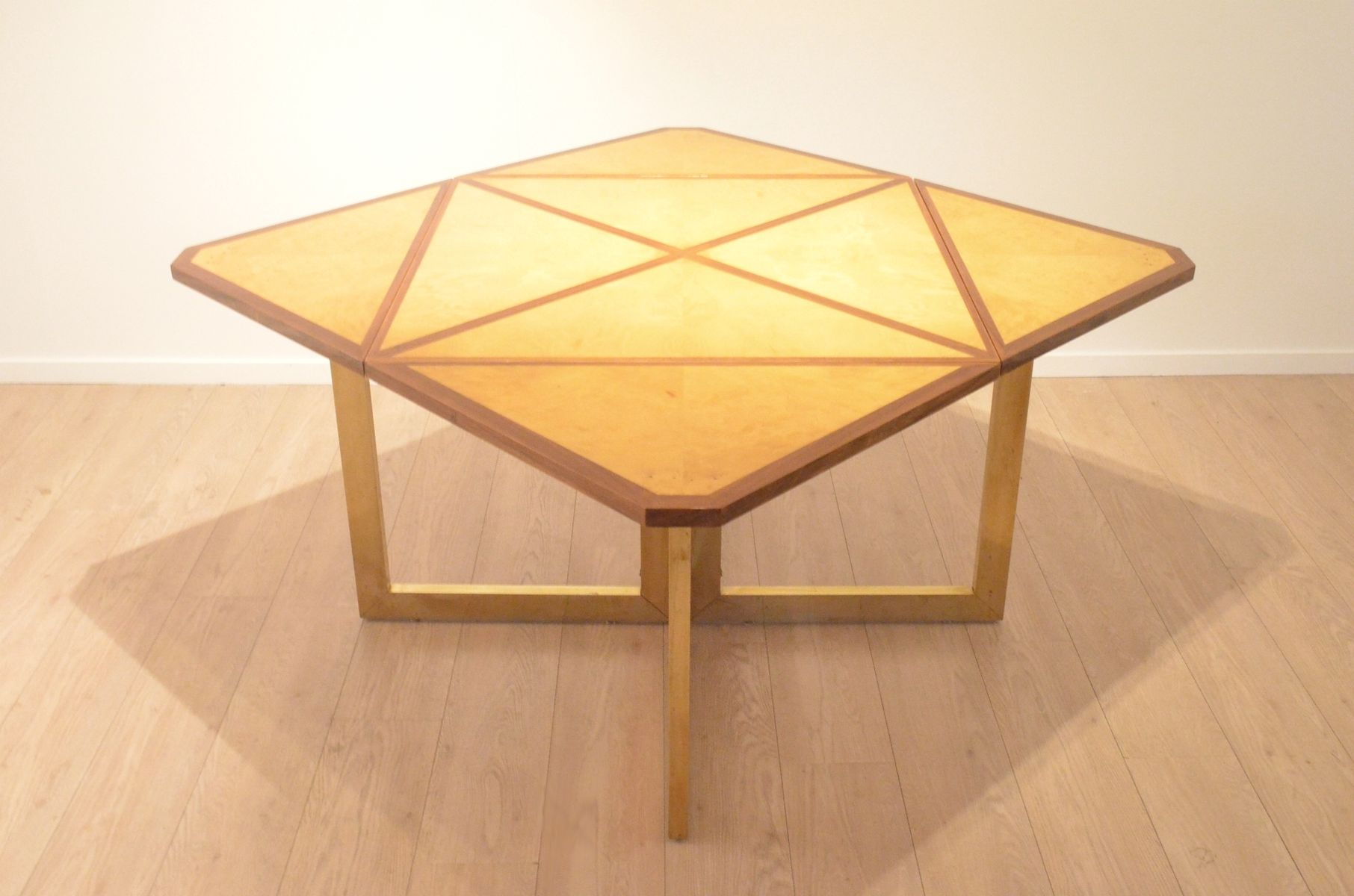 French bicolored wood extendable dining table 1960s for for Dining table tj hughes