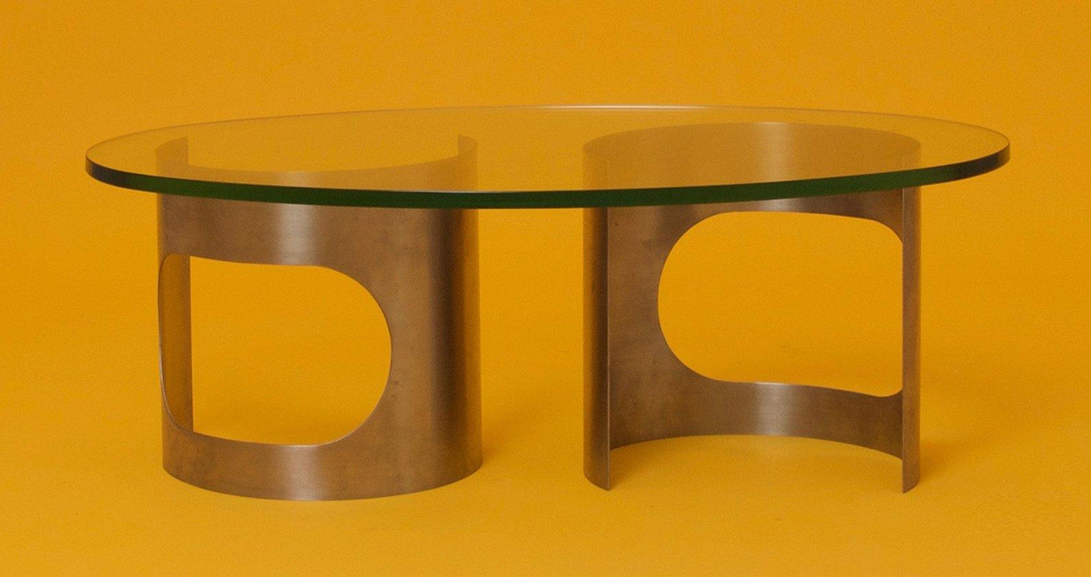 Franz sischer runder couchtisch aus edelstahl glas for Runder couchtisch glas