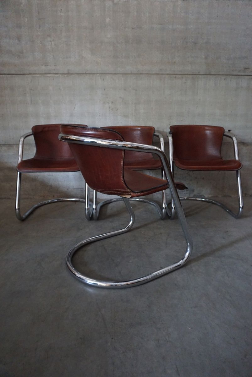 Italian Cognac Leather Dining Chairs By Willy Rizzo 1970s