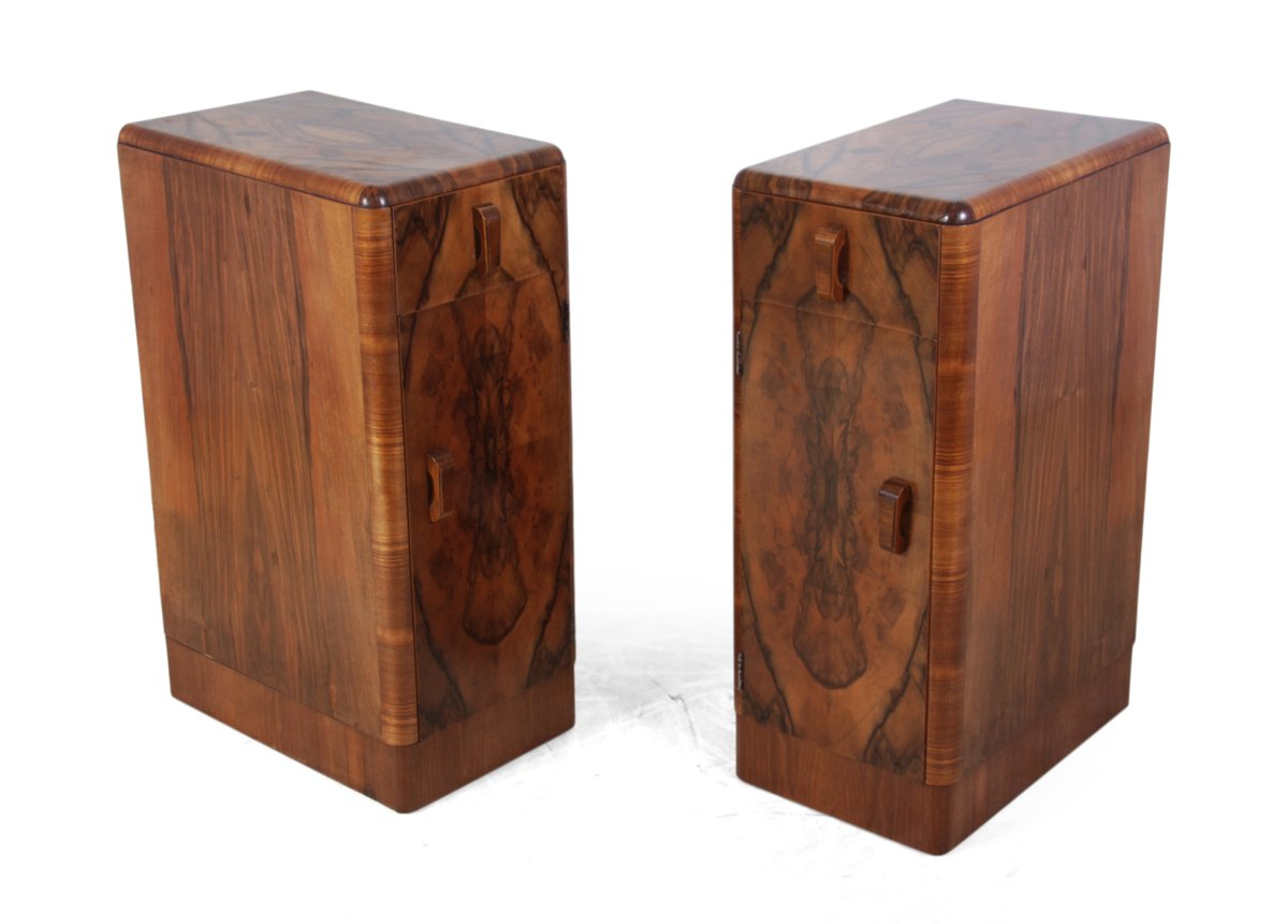 Art deco walnut side cabinets 1930s set of 2 for sale at for 1930s kitchen cabinets for sale