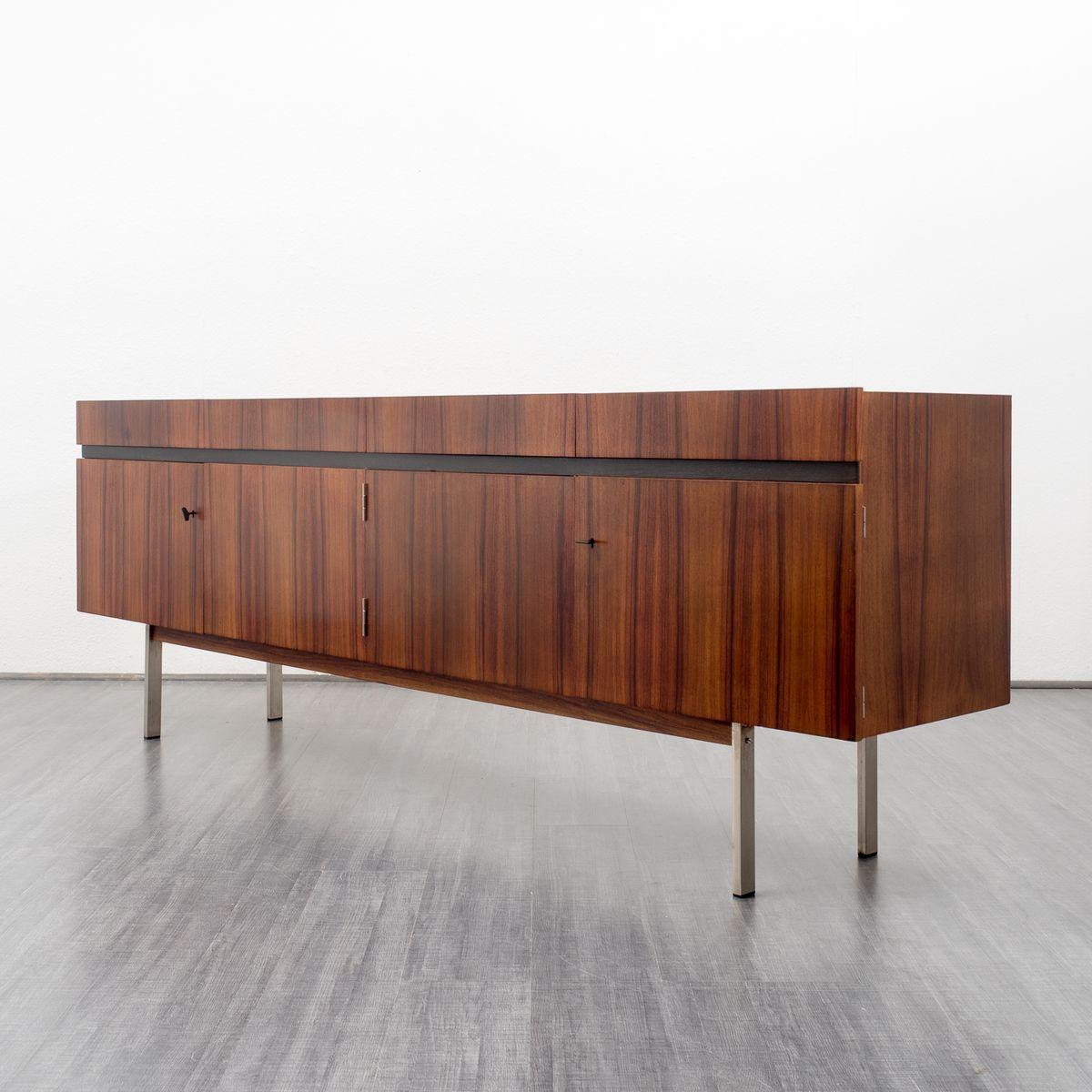 rosewood and steel sideboard with lockable doors 1970s. Black Bedroom Furniture Sets. Home Design Ideas