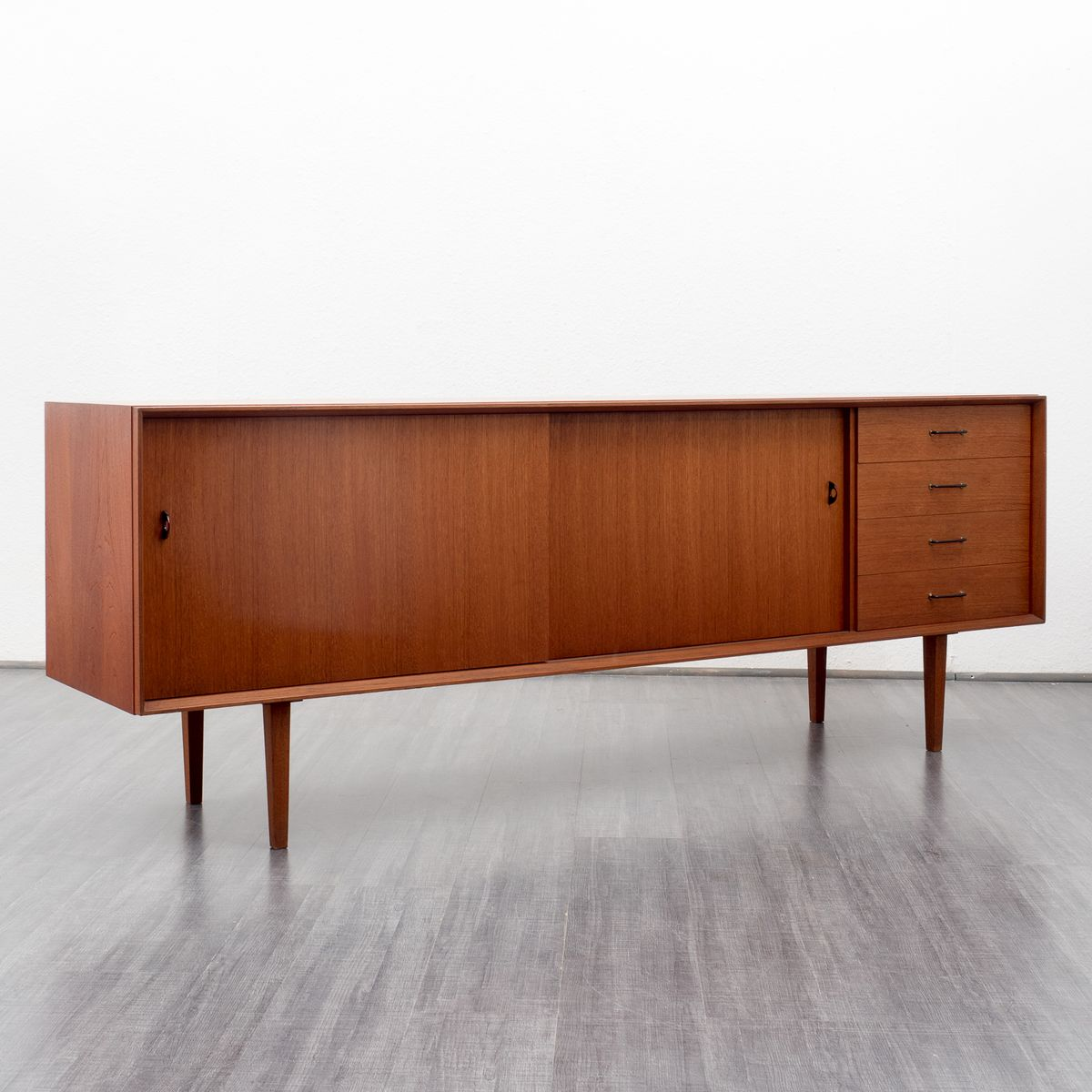 skandinavisches teak sideboard mit vier schubladen 1960er. Black Bedroom Furniture Sets. Home Design Ideas