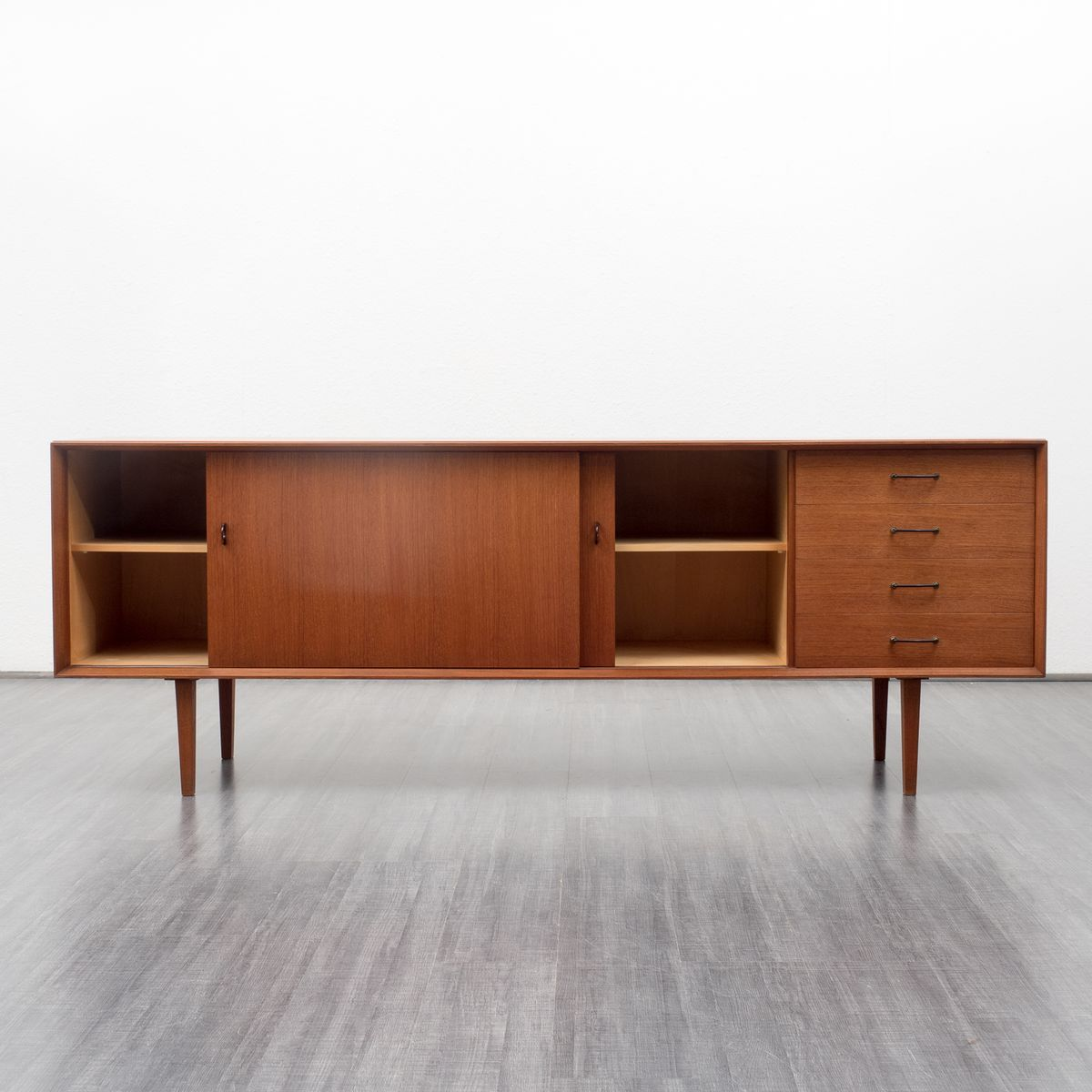Scandinavian teak sideboard with four drawers 1960s for for Sideboard 220 cm