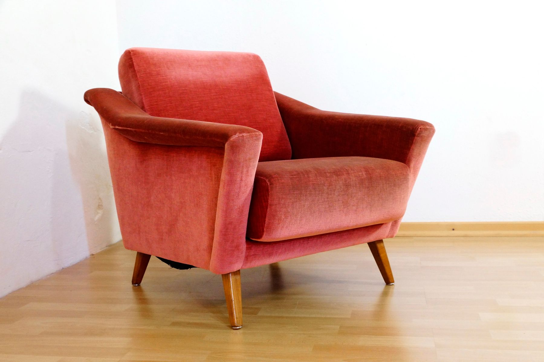 Mid Century Danish Velour Lounge Chair For Sale At Pamono