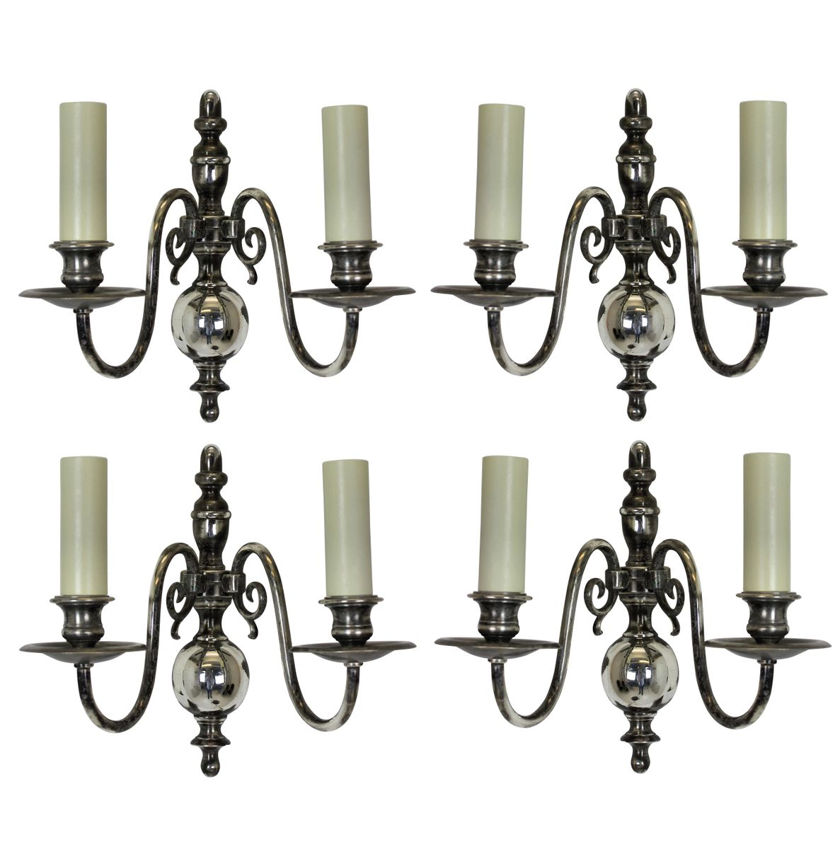 Flemish Silver Wall Sconces, Set of 4 for sale at Pamono
