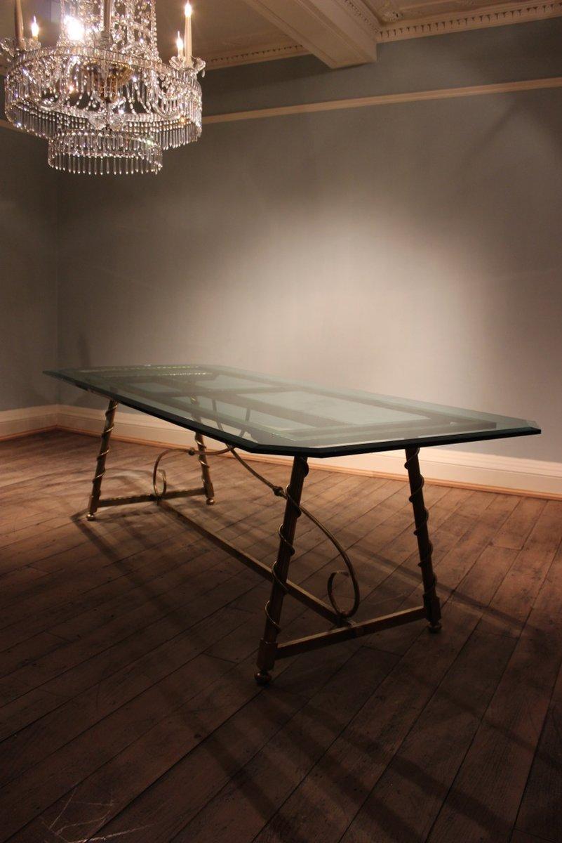 franz sischer esstisch aus messing glas 1940er bei pamono kaufen. Black Bedroom Furniture Sets. Home Design Ideas