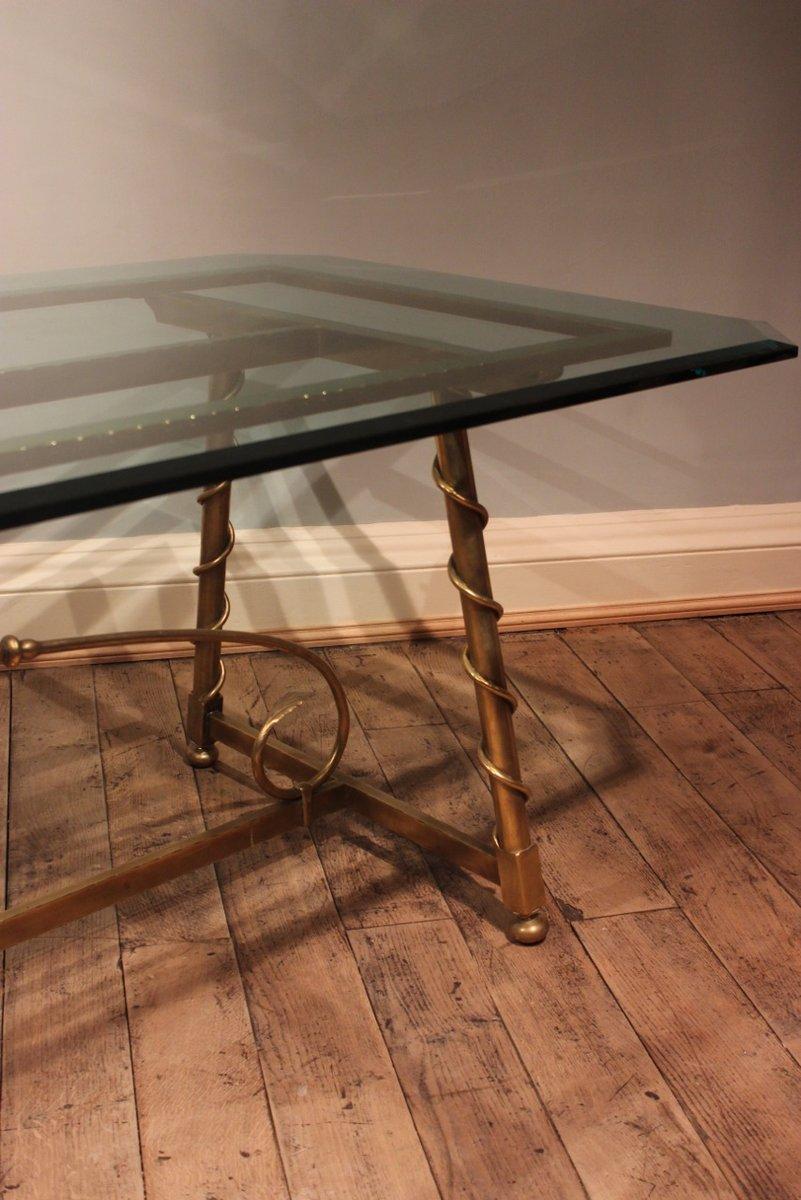 franz sischer esstisch aus messing glas 1940er bei. Black Bedroom Furniture Sets. Home Design Ideas
