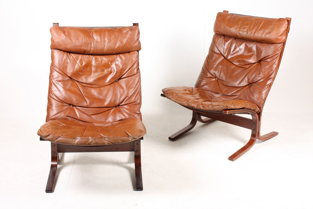 Norwegian Siesta Bentwood And Tan Leather Lounge Chairs By Ingmar Relling  For Westnofa, 1960s, Set Of 2