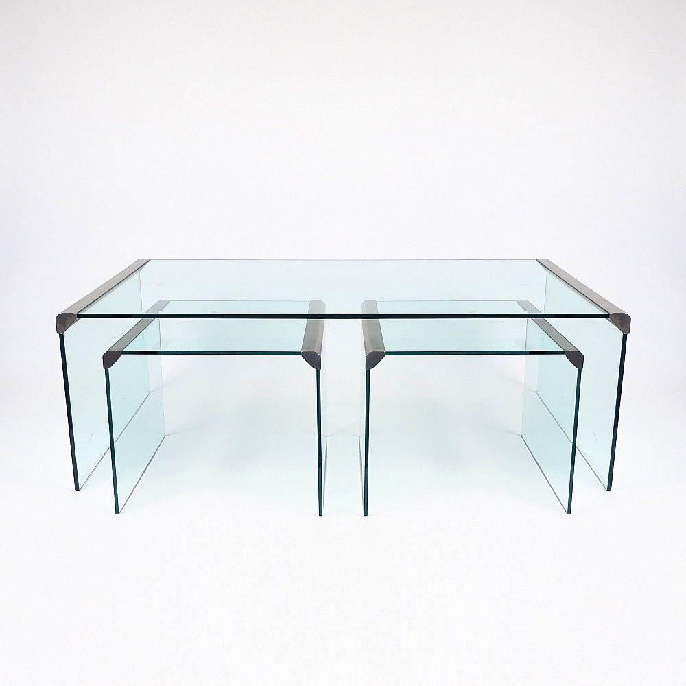 stahl glas couchtisch mit beistelltische von gallotti radice 1970er bei pamono kaufen. Black Bedroom Furniture Sets. Home Design Ideas