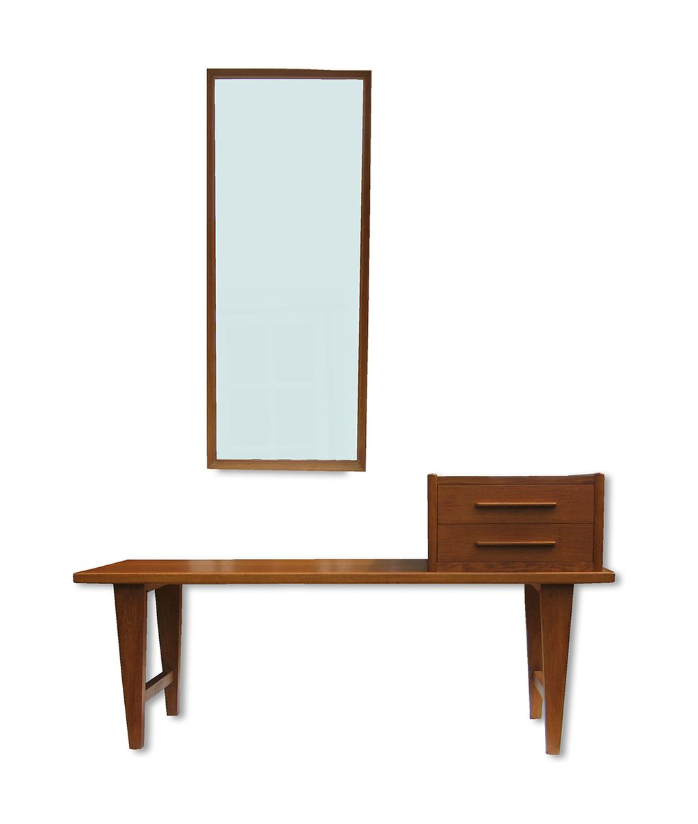 Danish Oak Hallway Bench With Mirror 1960s For Sale At Pamono