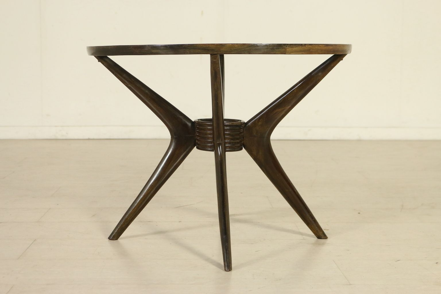 Italian Ebony Stained Wood Decorated Glass Coffee Table 1950s For Sale At Pamono