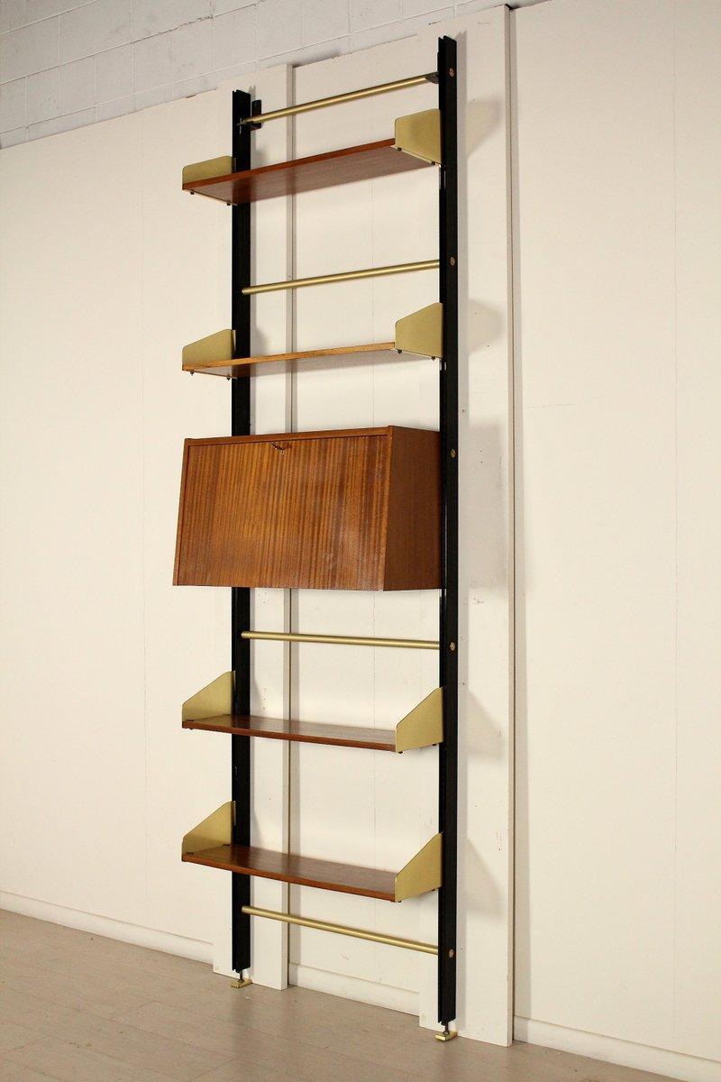 italienisches b cherregal aus mahagoni metall von feal. Black Bedroom Furniture Sets. Home Design Ideas
