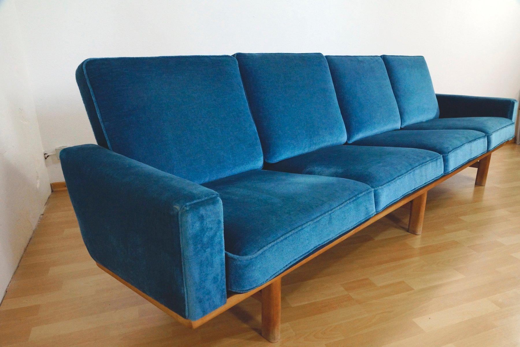 four seater oak velour sofa by hans j wegner for getama 1950s for sale at pamono. Black Bedroom Furniture Sets. Home Design Ideas
