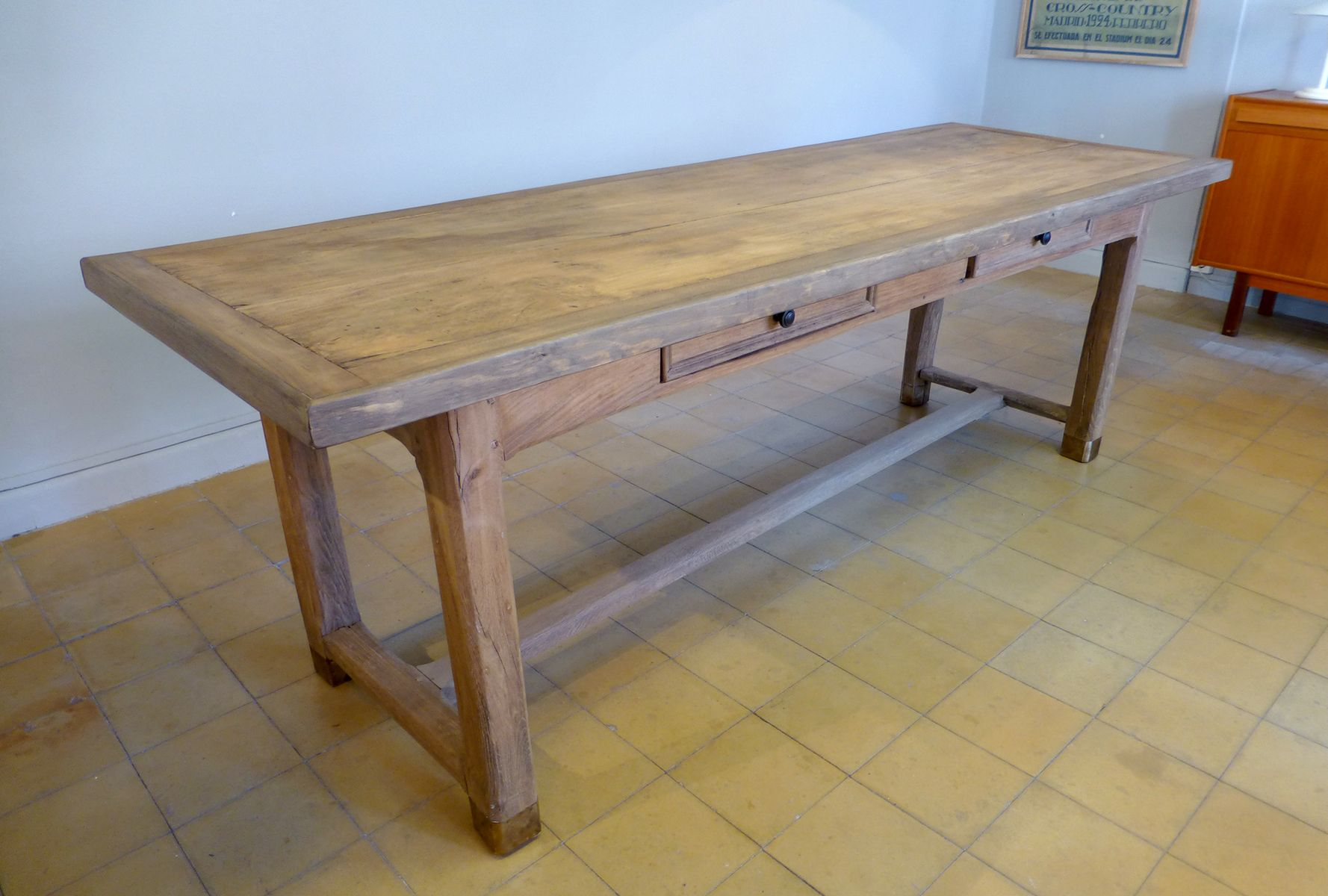 French Oak Dining Table With Two Drawers For Sale At Pamono