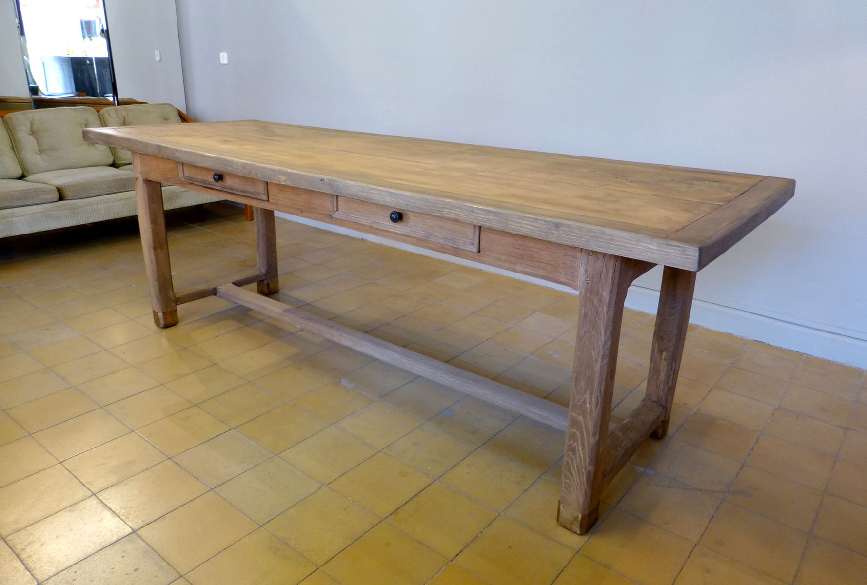 French Oak Dining Table with Two Drawers for sale at Pamono : french oak dining table with two drawers 1 from www.pamono.com size 1777 x 1200 jpeg 140kB