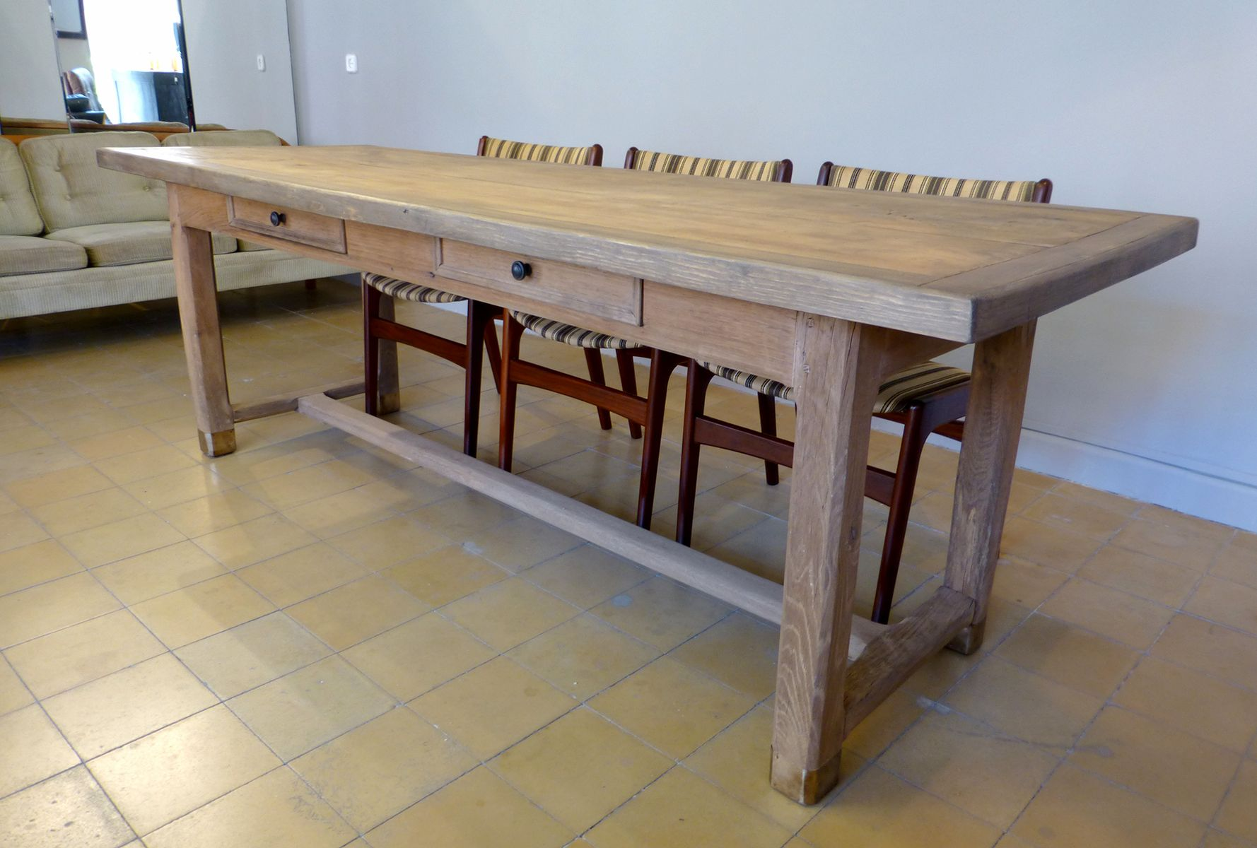 French Oak Dining Table With Two Drawers For Sale At Pamono. Full resolution‎  photograph, nominally Width 1777 Height 1200 pixels, photograph with #867045.