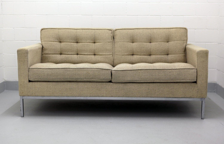 zwei sitzer sofa mit chromgestell wollbezug von florence. Black Bedroom Furniture Sets. Home Design Ideas