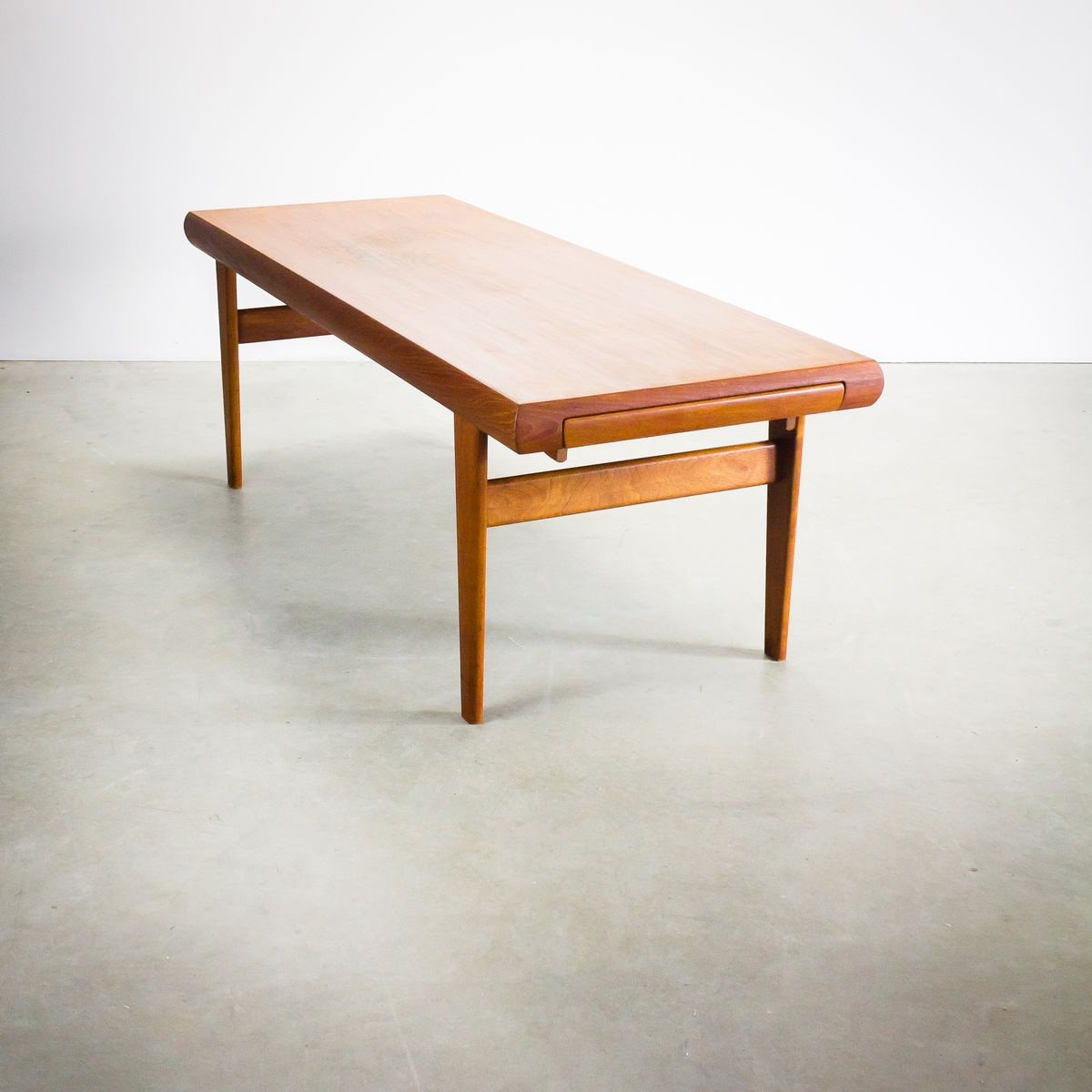 Danish teak coffee table with hidden side table from trioh for Table th hidden