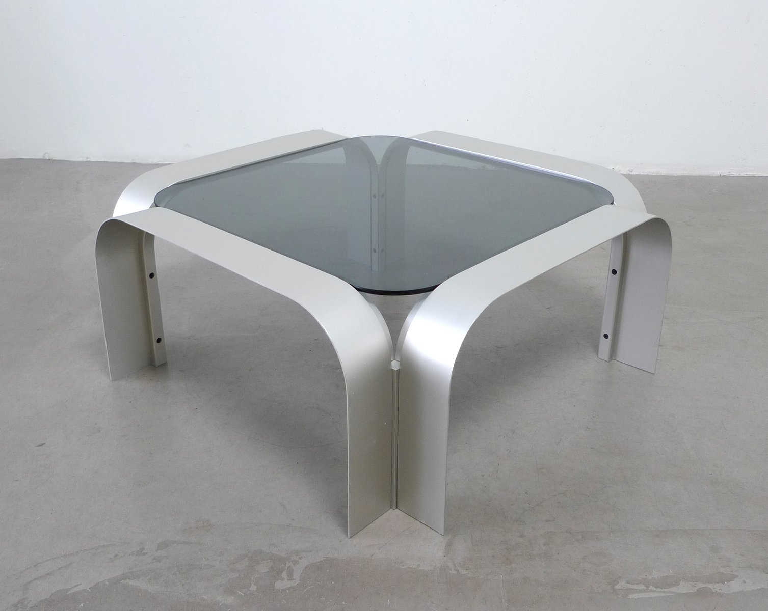 Square Aluminium Coffee Table With Tinted Glass 1970s For Sale At Pamono