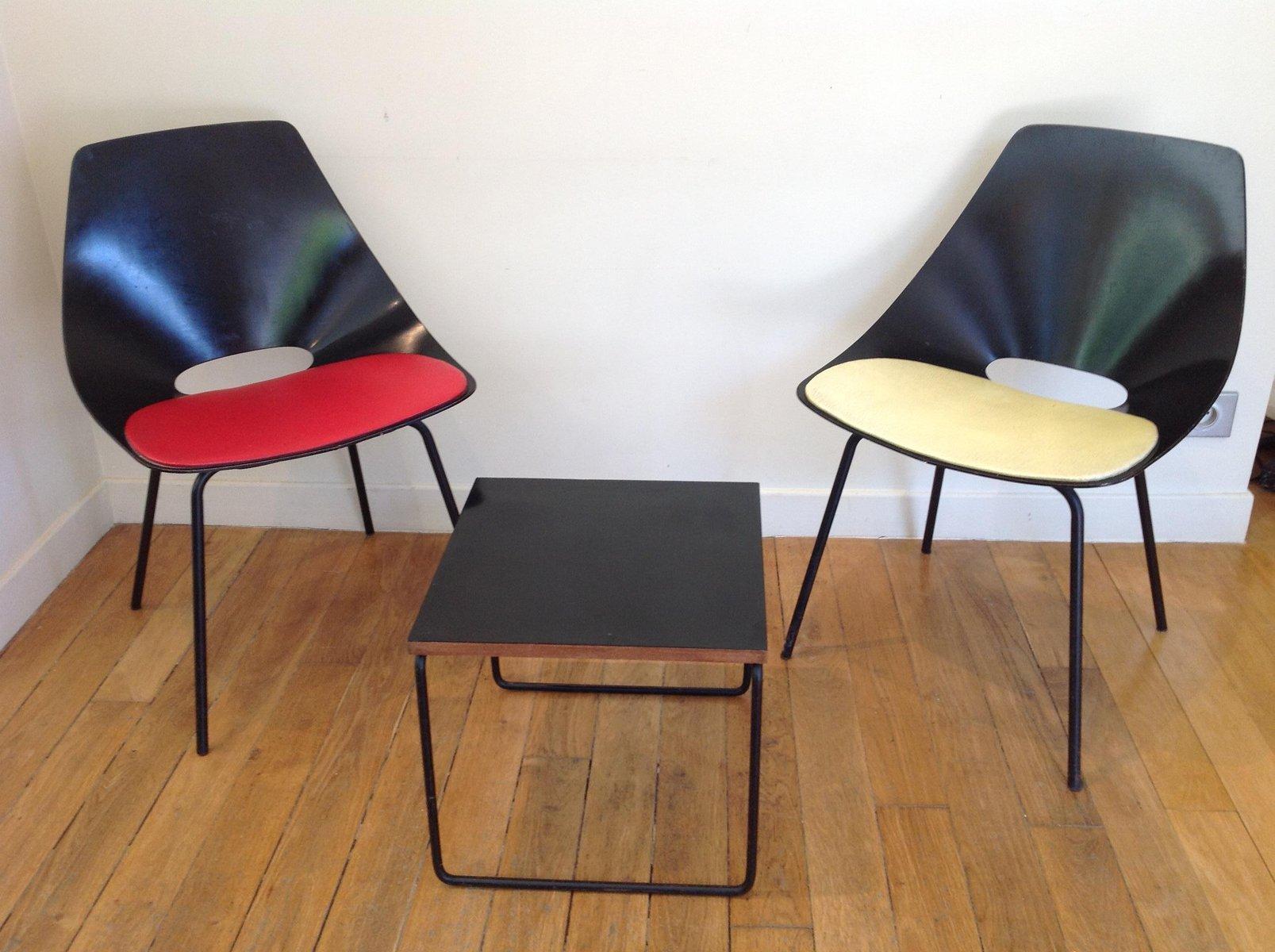 chaise barrel rouge et noir par pierre guariche pour steiner france 1950s en vente sur pamono. Black Bedroom Furniture Sets. Home Design Ideas