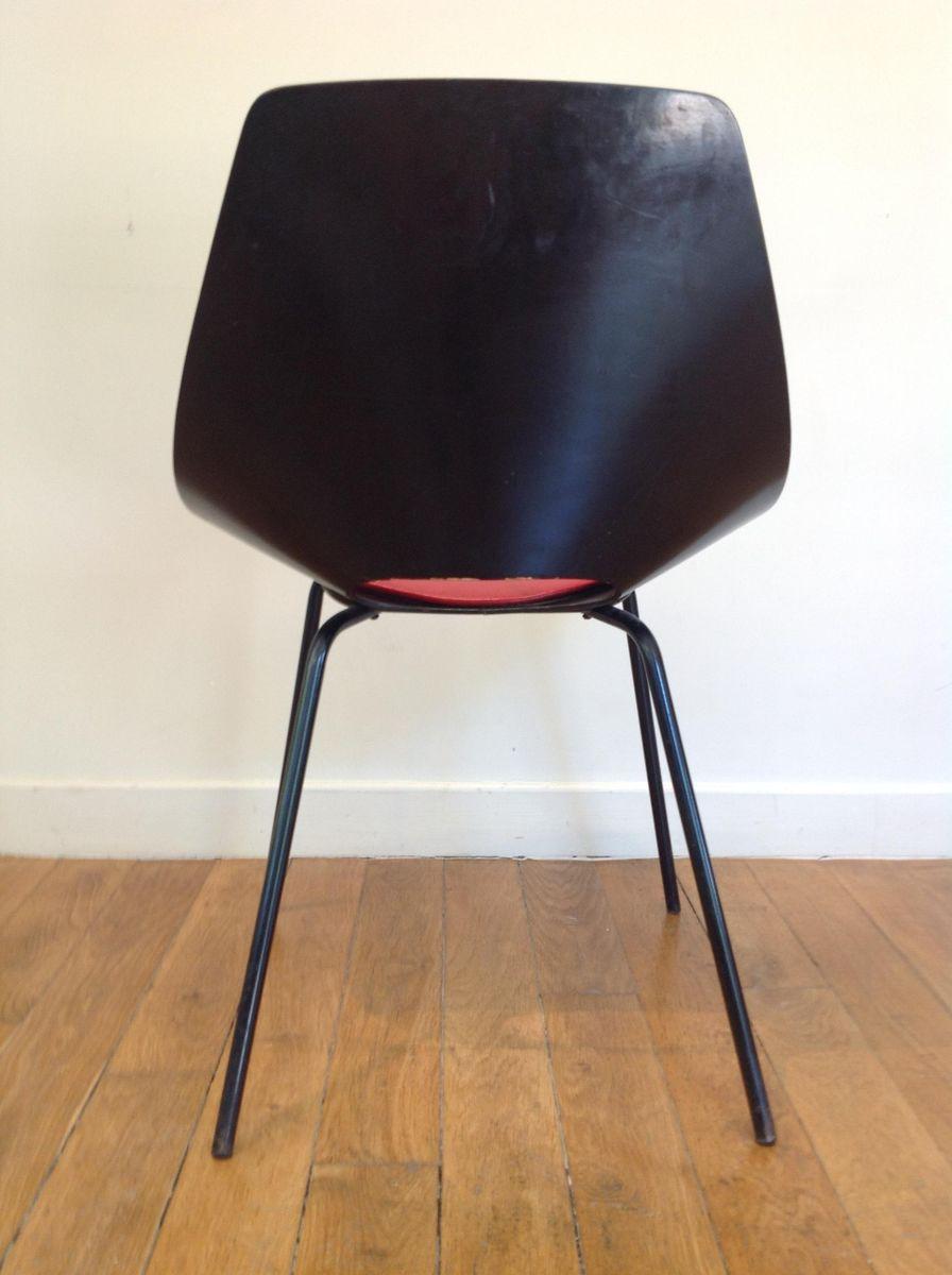 Chaise barrel rouge et noir par pierre guariche pour steiner france 1950s e - Chaise rouge et noir ...