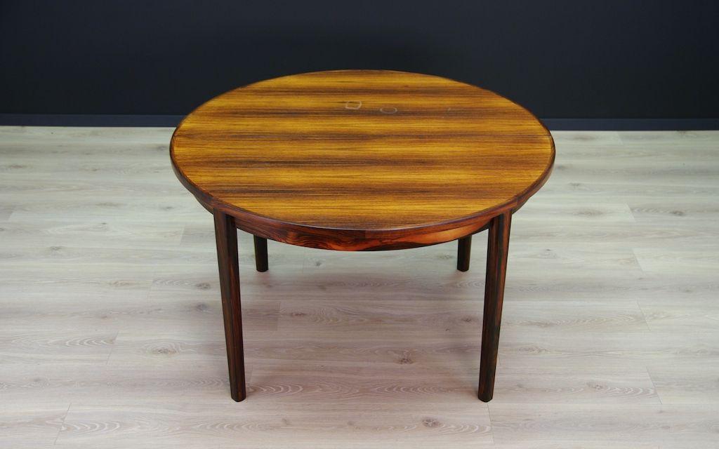 Table ronde de salle manger extensible en palissandre for Table de salle a manger en solde