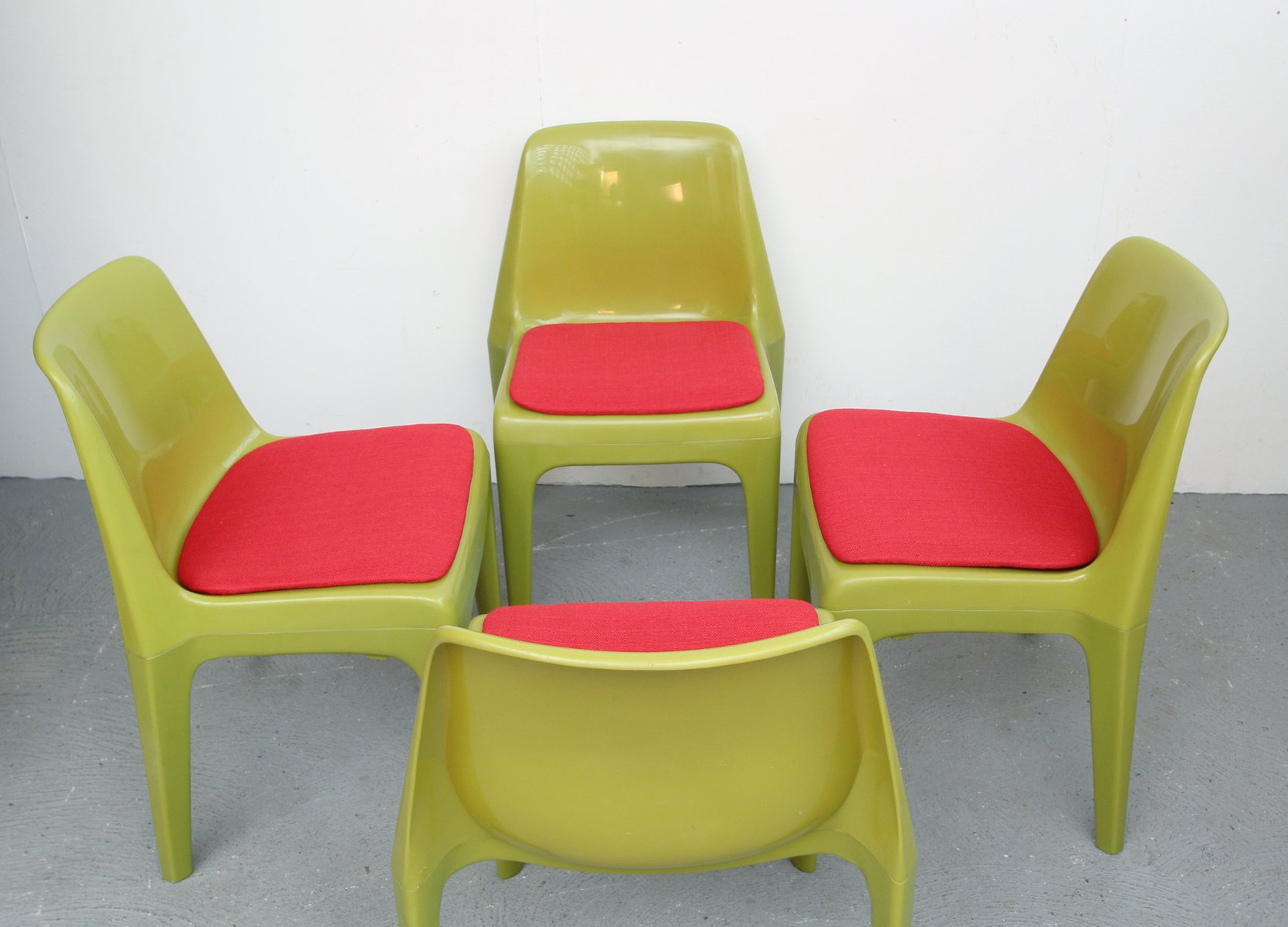 German Red and Green Plastic Chairs 1970s Set of 4 for sale at
