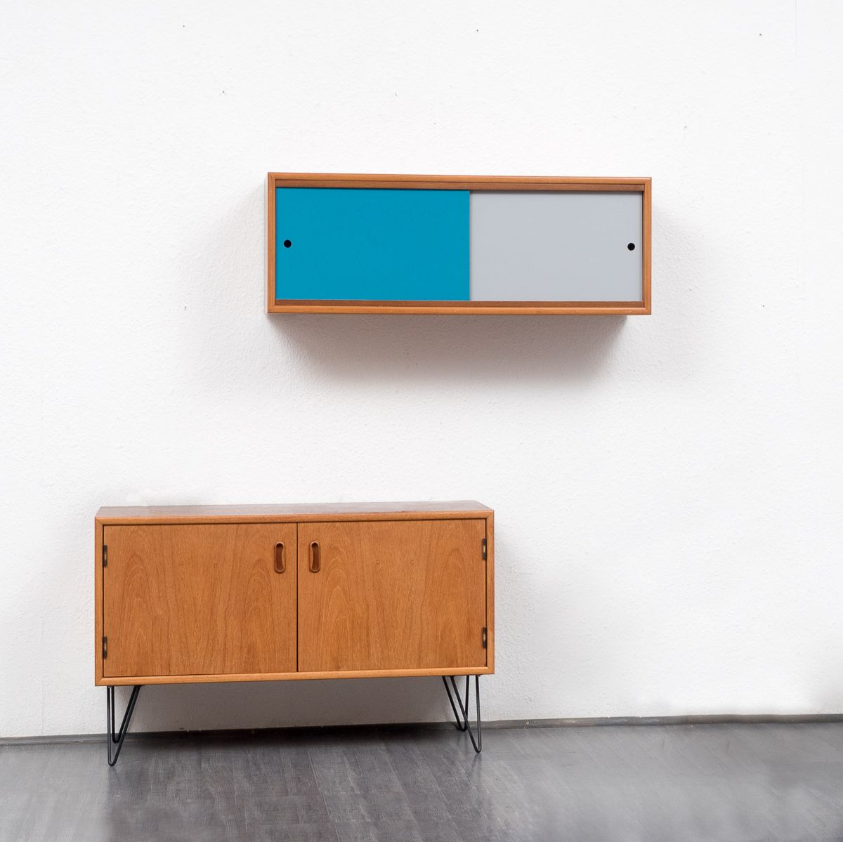 Wall shelf and teak sideboard 1960s set of 2 for sale at for Sideboard petrol