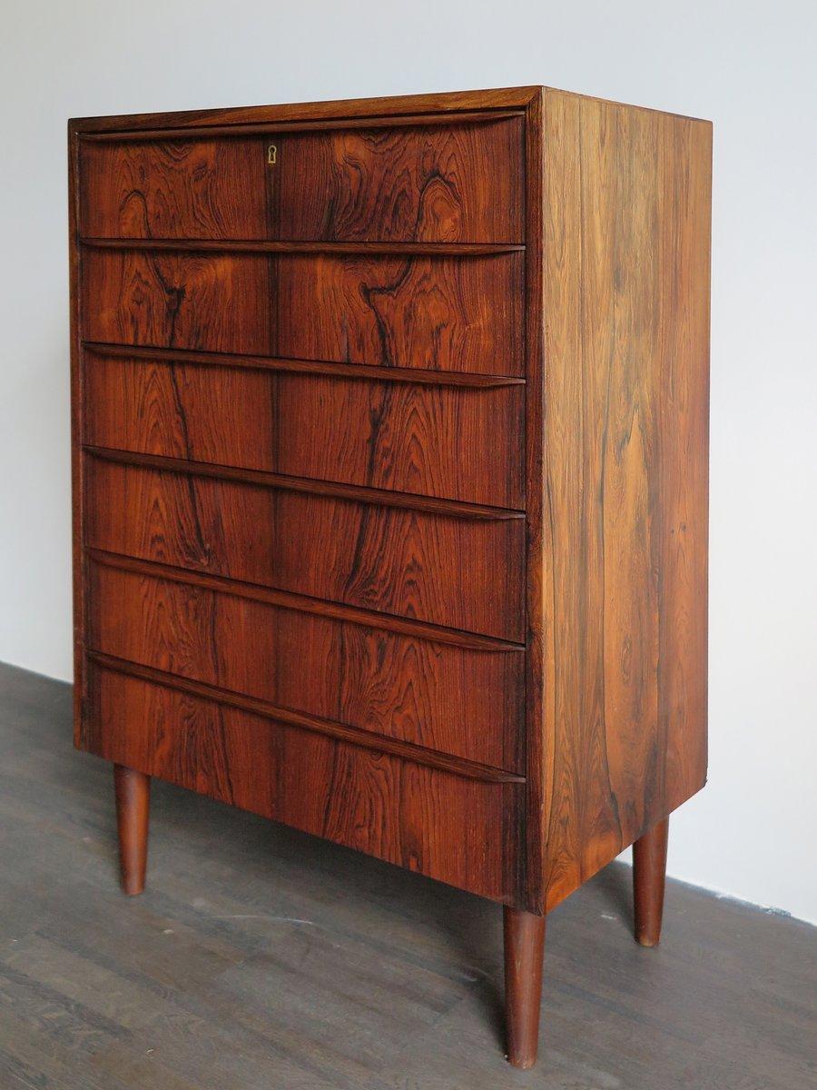 hohe d nische palisander kommode mit sechs schubladen und schloss 1960er bei pamono kaufen. Black Bedroom Furniture Sets. Home Design Ideas
