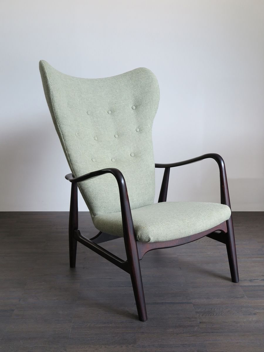 Danish Modernist Lounge Chair With Pale Green Upholstery By Arne Vodder For B
