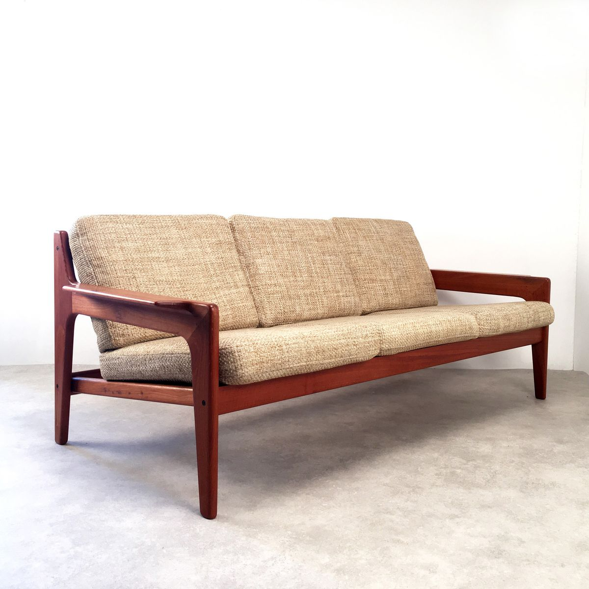 mid century danish three seater sofa by arne wahl iversen for komfort 1960s for sale at pamono. Black Bedroom Furniture Sets. Home Design Ideas