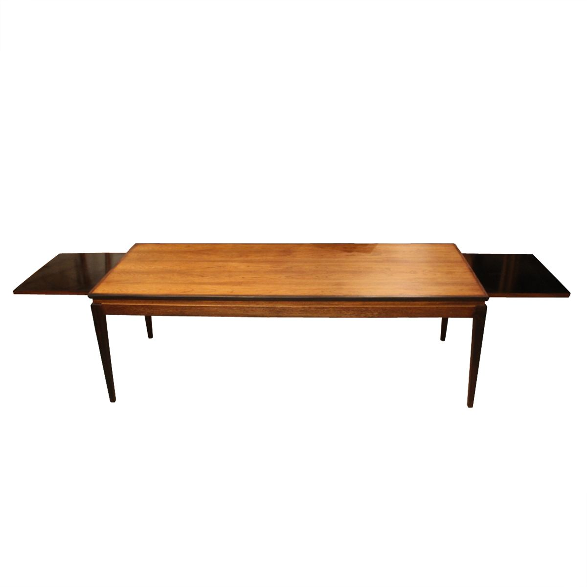 Danish rosewood coffee table with two black lacquered for Extension coffee table