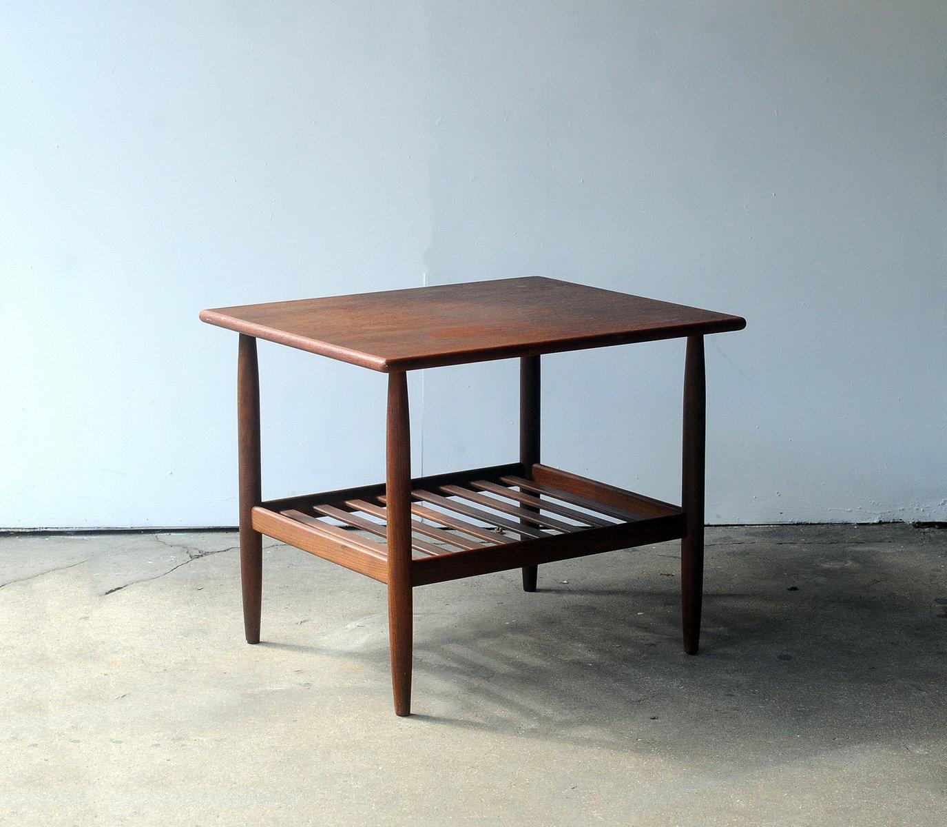 Danish Mid Century Teak Coffee Table 1 Small: Mid-Century Danish Teak Side Table With Shelf For Sale At